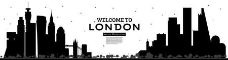 Welcome to London England Skyline Silhouette with Black Buildings Isolated on White. Vector Illustration. Business Travel and Tourism Concept with Modern Architecture. London Cityscape with Landmarks.