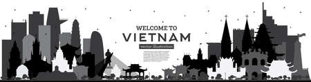 Welcome to Vietnam Skyline Silhouette with Black Buildings Isolated on White. Vector Illustration. Tourism Concept with Historic Architecture. Vietnam Cityscape with Landmarks. Hanoi. Ho Chi Minh. Haiphong. Da Nang.