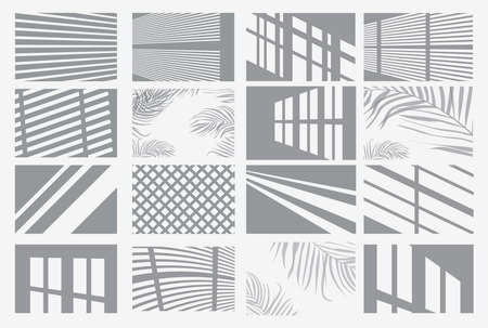 Set of Transparent Shadow Overlay Effects. Vector Illustration. Window Frames, Palm Tree and Blind.
