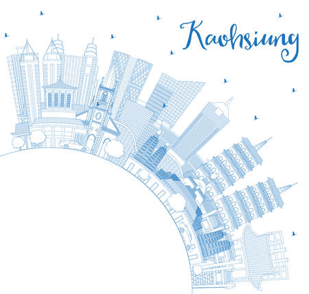 Outline Kaohsiung Taiwan City Skyline with Blue Buildings and Copy Space. Vector Illustration. Business Travel and Tourism Concept with Historic Architecture. Kaohsiung China Cityscape with Landmarks.