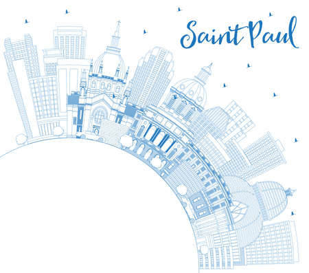 Outline Saint Paul Minnesota City Skyline with Blue Buildings and Copy Space. Vector Illustration. Business Travel and Tourism Concept with Modern Architecture. Saint Paul USA Cityscape with Landmarks