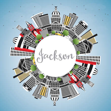 Jackson Mississippi City Skyline with Gray Buildings, Blue Sky and Copy Space. Vector Illustration. Travel and Tourism Concept with Historic Architecture. Jackson USA Cityscape with Landmarks.