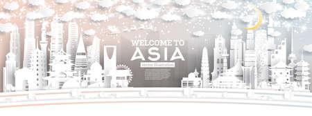 Asia City Skyline in Paper Cut Style with Snowflakes, Moon and Neon Garland. Vector Illustration. Christmas and New Year Concept. Santa Claus on Sleigh.  Illustration