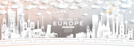 Europe City Skyline in Paper Cut Style with Snowflakes, Moon and Neon Garland. Vector Illustration. Christmas and New Year Concept. Santa Claus on Sleigh.