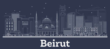 Outline Beirut Lebanon City Skyline with White Buildings. Vector Illustration. Business Travel and Concept with Historic Architecture. Beirut Cityscape with Landmarks.