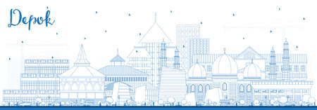 Outline Depok Indonesia City Skyline with Blue Buildings. Vector Illustration. Business Travel and Concept with Modern Architecture. Depok Cityscape with Landmarks.