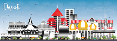 Depok Indonesia City Skyline with Color Buildings and Blue Sky. Vector Illustration. Business Travel and Concept with Modern Architecture. Depok Cityscape with Landmarks. Çizim