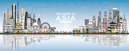 Welcome to Asia Skyline with Gray Buildings and Blue Sky. Vector Illustration. Tourism Concept with Historic Architecture. Asia Cityscape with Landmarks. Tokyo. Shanghai. Singapore. Delhi. Riyadh.