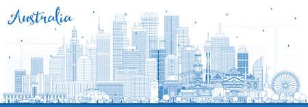 Outline Australia City Skyline with Blue Buildings. Vector Illustration. Tourism Concept with Historic Architecture. Australia Cityscape with Landmarks. Sydney. Melbourne. Canberra.