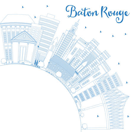 Outline Baton Rouge Louisiana City Skyline with Blue Buildings and Copy Space. Vector Illustration. Travel and Tourism Concept with Modern Architecture. Baton Rouge USA Cityscape with Landmarks. 向量圖像