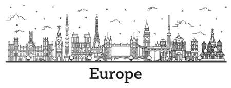 Outline Famous Landmarks in Europe. Vector Illustration. Business Travel and Tourism Concept. Paris, London, Berlin, Moscow, Madrid. Ilustracja