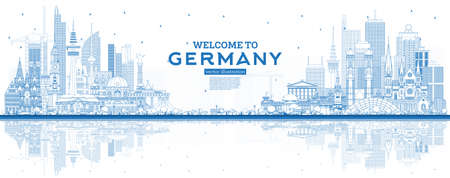 Outline Welcome to Germany Skyline with Blue Buildings and Reflections. Vector Illustration. Business Travel and Tourism Concept with Modern Architecture. Germany Cityscape with Landmarks.