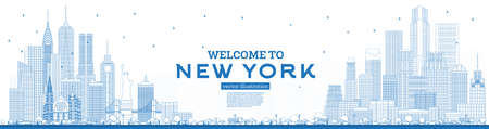 Outline Welcome to New York USA Skyline with Blue Buildings. Vector Illustration. Business Travel and Tourism Concept with Modern Architecture. New York Cityscape with Landmarks.