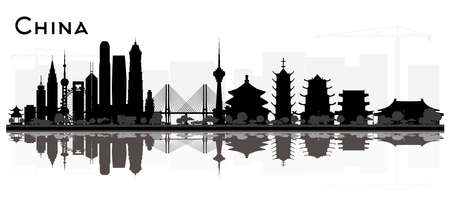 China City skyline black and white silhouette with Reflections. Vector illustration. Simple flat concept for tourism presentation, banner, placard or web site. Business travel concept. China Cityscape with Landmarks. 일러스트