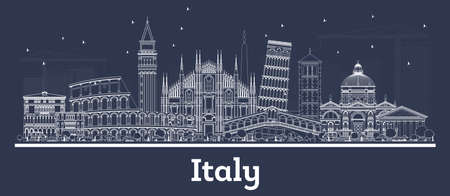 Outline Italy City Skyline with White Buildings. Vector Illustration. Business Travel and Concept with Historic Architecture. Italy Cityscape with Landmarks. Archivio Fotografico - 131298009