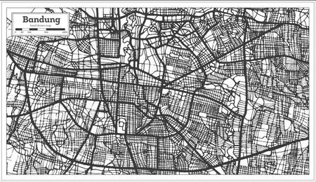 Bandung Indonesia City Map in Black and White Color. Outline Map. Vector Illustration.