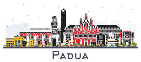 Padua Italy City Skyline with Color Buildings Isolated on White. Vector Illustration. Business Travel and Concept with Historic Architecture. Padua Cityscape with Landmarks. Иллюстрация
