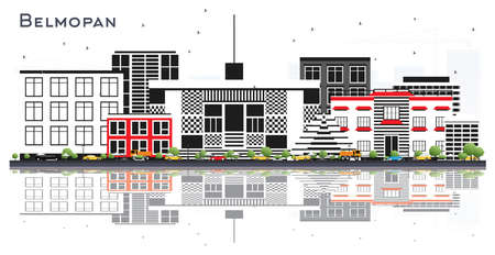 Belmopan Belize City Skyline with Gray Buildings and Reflections Isolated on White. Vector Illustration. Business Travel and Tourism Concept with Modern Architecture. Belmopan Cityscape with Landmarks.