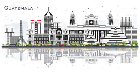 Guatemala City Skyline with Gray Buildings and Reflections Isolated on White. Vector Illustration. Business Travel and Tourism Concept with Modern Architecture. Guatemala Cityscape with Landmarks.