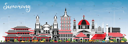 Semarang Indonesia City Skyline with Color Buildings and Blue Sky. Vector Illustration. Business Travel and Concept with Modern Architecture. Semarang Cityscape with Landmarks. Vetores