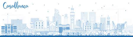 Esquema del horizonte de la ciudad de Casablanca Marruecos con edificios azules. Ilustración de vector. Viajes de negocios y concepto con arquitectura histórica. Paisaje urbano de Casablanca con hitos. Ilustración de vector