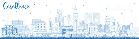 Outline Casablanca Morocco City Skyline with Blue Buildings. Vector Illustration. Business Travel and Concept with Historic Architecture. Casablanca Cityscape with Landmarks. Vector Illustration