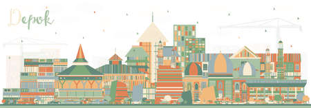 Depok Indonesia City Skyline with Color Buildings. Vector Illustration. Business Travel and Concept with Modern Architecture. Depok Cityscape with Landmarks. Çizim