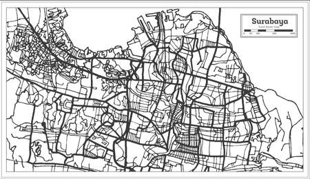 Surabaya Indonesia City Map in Black and White Color. Outline Map. Vector Illustration.