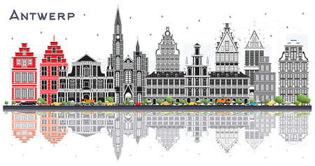 Antwerp Belgium City Skyline with Gray Buildings and Reflections Isolated on White. Vector Illustration. Business Travel and Tourism Concept with Historic Architecture. Antwerp Cityscape with Landmarks.