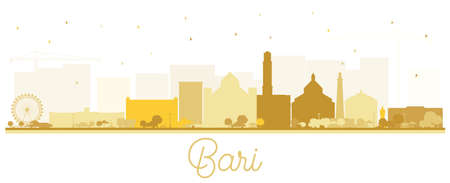 Bari Italy City Skyline Silhouette with Golden Buildings Isolated on White. Vector Illustration. Business Travel and Tourism Concept with Modern Architecture. Bari Cityscape with Landmarks.