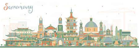 Semarang Indonésie City Skyline avec des bâtiments de couleur. Illustration vectorielle. Voyage d'affaires et concept avec une architecture moderne. Paysage urbain de Semarang avec points de repère.
