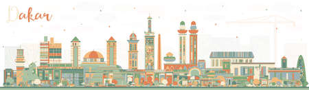 Dakar Senegal City Skyline with Color Buildings. Vector Illustration. Business Travel and Concept with Historic Architecture. Dakar Cityscape with Landmarks.