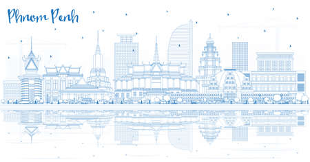 Décrire les toits de la ville de Phnom Penh au Cambodge avec des bâtiments bleus et des reflets. Illustration vectorielle. Concept de voyage d'affaires et de tourisme avec architecture historique. Paysage urbain de Phnom Penh avec des points de repère.