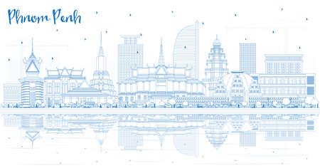 Overzicht Phnom Penh Cambodja City Skyline met blauwe gebouwen en reflecties. Vectorillustratie. Zakelijk reizen en toerisme Concept met historische architectuur. Phnom Penh stadsgezicht met monumenten.