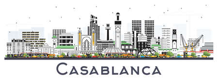 Casablanca Morocco City Skyline with Color Buildings Isolated on White. Vector Illustration. Business Travel and Concept with Historic Architecture. Casablanca Cityscape with Landmarks.  일러스트