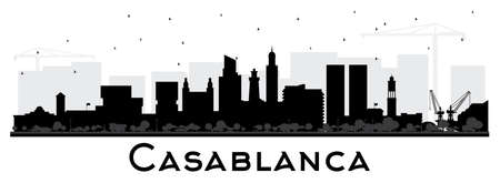 Casablanca Morocco City Skyline Silhouette with Black Buildings Isolated on White. Vector Illustration. Business Travel and Concept with Historic Architecture. Casablanca Cityscape with Landmarks. 스톡 콘텐츠 - 133539437