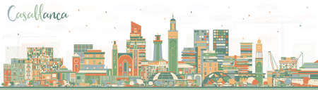 Casablanca Morocco City Skyline with Color Buildings. Vector Illustration. Business Travel and Concept with Historic Architecture. Casablanca Cityscape with Landmarks.  일러스트