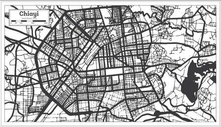 Chiayi Taiwan City Map in Black and White Color. Outline Map. Vector Illustration.