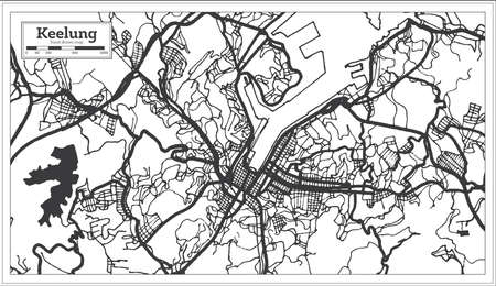 Keelung Taiwan City Map in Black and White Color. Outline Map. Vector Illustration.