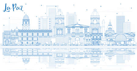 Outline La Paz Bolivia City Skyline with Blue Buildings and Reflections. Vector Illustration. Business Travel and Tourism Concept with Historic Architecture. La Paz Cityscape with Landmarks.