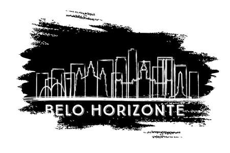 Belo Horizonte Brazil City Skyline Silhouette. Hand Drawn Sketch. Vector Illustration. Business Travel and Tourism Concept with Historic Architecture. Cityscape with Landmarks.