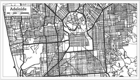 Adelaide Australia City Map in Black and White Color. Outline Map. Vector Illustration.