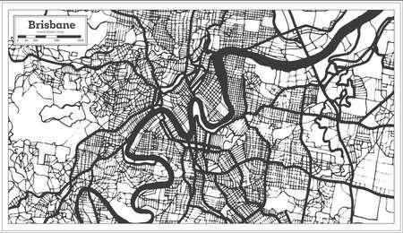 Brisbane Australia City Map in Black and White Color. Outline Map. Vector Illustration.