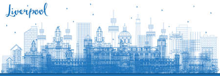 Outline Liverpool Skyline with Blue Buildings. Vector Illustration. Business Travel and Tourism Concept with Historic Architecture. Liverpool Cityscape with Landmarks.  일러스트