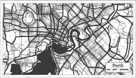 Perth Australia City Map in Black and White Color. Outline Map. Vector Illustration. Vektorové ilustrace