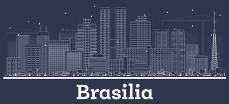 Outline Brasilia Brazil City Skyline with White Buildings. Vector Illustration. Business Travel and Concept with Historic Architecture. Brasilia Cityscape with Landmarks. Иллюстрация