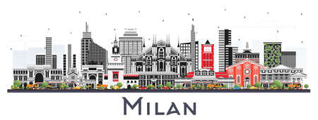 Milan Italy City Skyline with Color Buildings Isolated on White. Vector Illustration. Business Travel and Concept with Historic Architecture. Milan Cityscape with Landmarks.