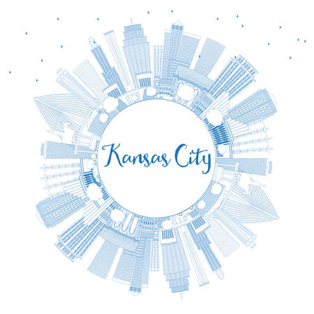 Outline Kansas City Missouri Skyline with Blue Buildings and Copy Space. Vector Illustration. Business Travel and Tourism Concept with Modern Architecture. Kansas City Cityscape with Landmarks.  向量圖像