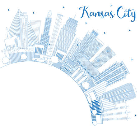 Outline Kansas City Missouri Skyline with Blue Buildings and Copy Space. Vector Illustration. Business Travel and Tourism Concept with Modern Architecture. Kansas City Cityscape with Landmarks.  Ilustração