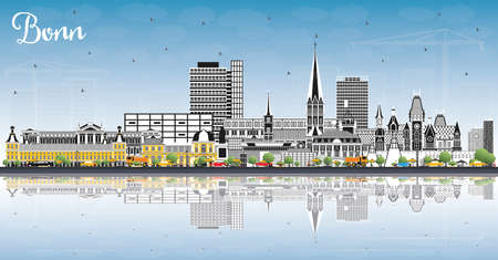 Bonn Germany City Skyline with Color Buildings, Blue Sky and Reflections. Vector Illustration. Business Travel and Concept with Historic Architecture. Bonn Cityscape with Landmarks.  Illustration